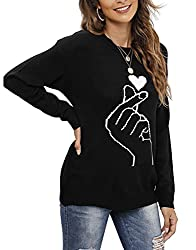 shermie Women's Cute Heart Pattern Patchwork Casual Long Sleeve Round Neck Knits Sweater Pullover