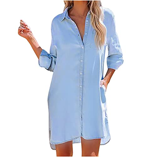 Plus Size Blouse for Women, Long Sleeve Solid Blue Mid-Length Hem Fall Sweater Casual Loose Fashion 2021 Fall Outerwear