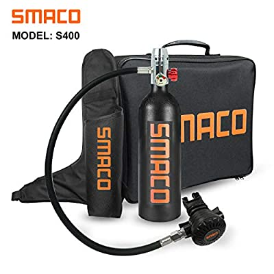 Scuba Tank Diving Cylinder Mini Scuba Tank Scuba Cylinder with 15-20 Minutes Capability Diving Oxygen Tank with Pump Breath Underwater Device?340 Breathe Times? S400 Dive Equipment Package B, Black