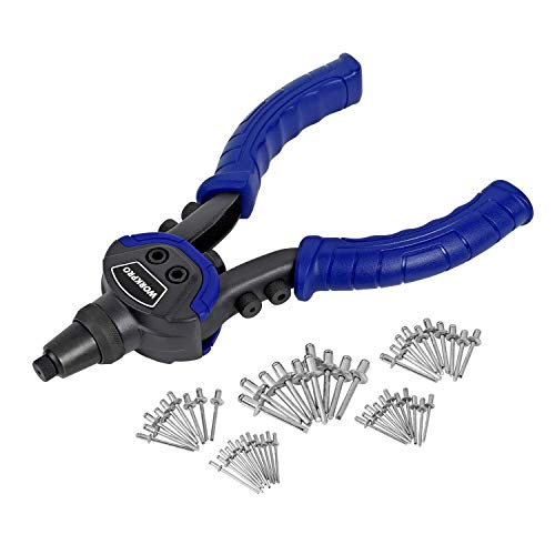WORKPRO 10-inch Heavy Duty Rivet Gun - 4 Nosepieces Attached on Grips, 5-in-1 Hand Riveter Set with 100-Piece Rivets Included