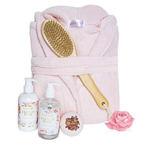 Ellen Tracy Five Piece Robe and Back Brush Collection Mother#039s Day Gift for Women French Rose