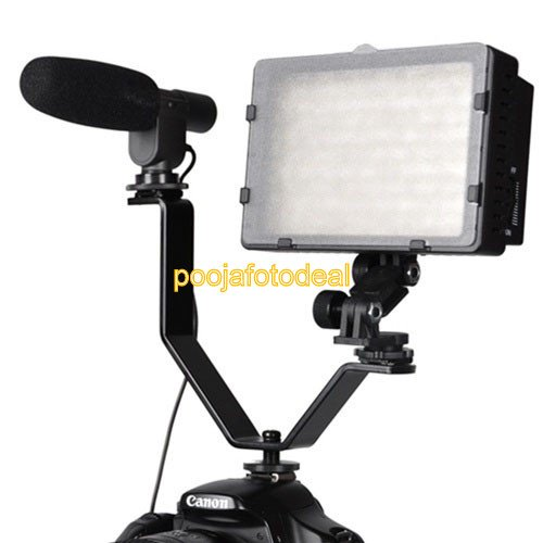 Shopee Dual Mount Bracket for Video Lights & Microphones on Cameras and Camcorders