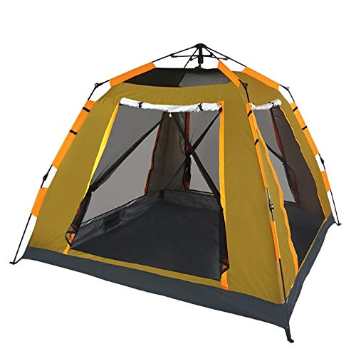 SHIBOHAN Camping field tent automatic outdoor 3-4 people thickened rainproof camping four-sided mesh tent (Color : Brown, Size : A)