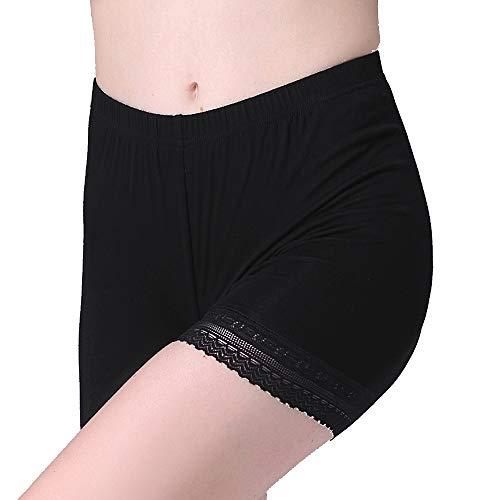 Vinconie Women Underdress Shorts Knee Length Spandex Shorts Lace Leggings Short, Large / (14 16), Dark Black