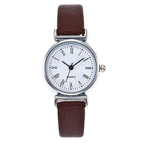 JZDH Relojes para Mujer Mujeres Relojes Moda Números árabes Pequeños con Pulsera de Cuero Reloj de Cuarzo Reloj de Pulsera Relojes Decorativos Casuales para Niñas Damas (Color : Coffee)