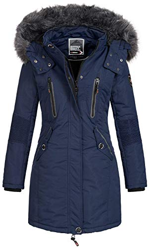 Geographical Norway Damen Jacke Winterparka Coracle/Coraly XL-Fellkapuze Navy M