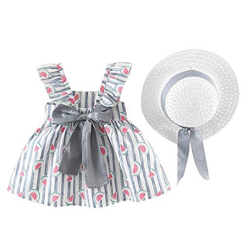 Weant Baby Kleidung Mädchen Outfits Wassermelone Drucken Streifen Schulterfrei Bowknot Röcke Partykleid Sommerkleid Prinzessin Kleid Kinder Kleider Baby Bekleidungssets Neugeborenen Bekleidungset