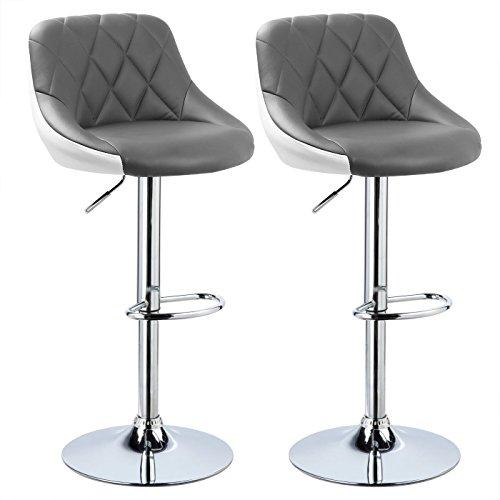 WOLTU BH30grw-2 Design 2 farbig Barhocker mit Griff, 2er Set, stufenlose Höhenverstellung, verchromter Stahl, Antirutschgummi, pflegeleichter Kunstleder, gut gepolsterte Sitzfläche, Grau+Weiß