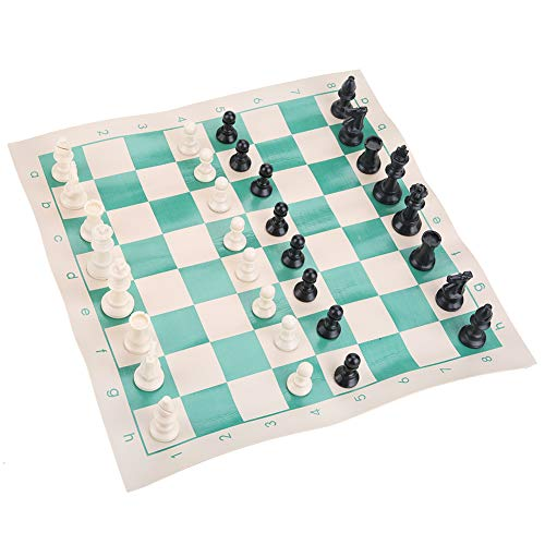 Hoseten Juego de ajedrez, Juego de Mesa Ligero portátil, Juego de ajedrez clásico, PVC para Viajes Escolares