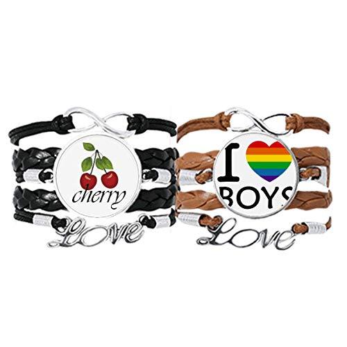Transgénero Bisexuales Soporte LGBT Pulsera Correa de mano Cuerda de cuero Cherry Love Wristband Set doble