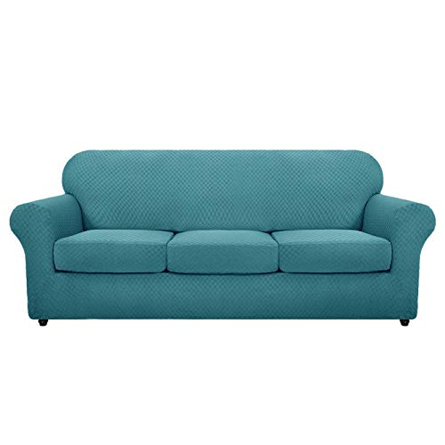 MAXIJIN Funda para sofá de 3 plazas, antideslizante, súper elástica, para perros, de jacquard, para mascotas (3 plazas), color azul pavo real