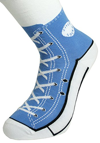 Sneaker Baseball Socken - Silly Socks im Sneakers Turnschuhe Stil (Blau)