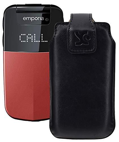 Suncase Original Tasche für Emporia Glam V34 Hülle Leder Etui Handytasche Ledertasche Schutzhülle Hülle in schwarz