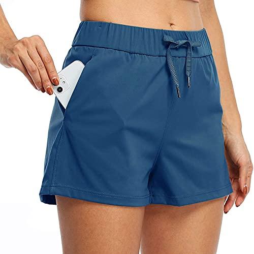 Pantalones cortos de deporte para mujer, pantalones cortos para correr, pantalones con bolsillos, cordón de color sólido, pantalones cortos con bolsillos sueltos, azul, L