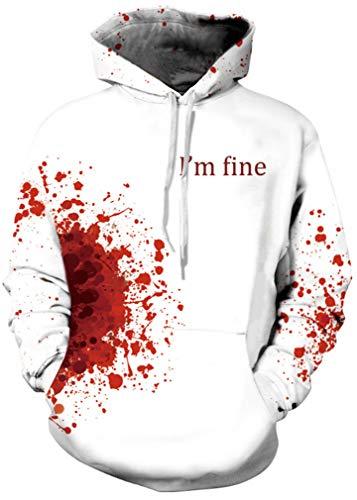AMOMA Jungen Digitaldruck Kapuzenpullover Tops Fashion Hoodie Pullover Hooded Sweatshirt(L-XL,WhiteBlood)