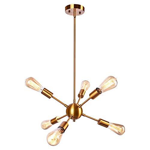 OYIPRO Oro Moderno Sputnik Iluminación colgante Lámparas de araña Metal ligero E27 para sala de estar Dormitorio loft cafe studio (Sin bombilla)