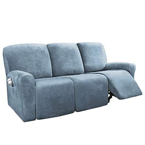 Funda elástica para sofá reclinable, 8 Piezas Fundas de sofá Suave de 3 Asientos con Bolsillo Remoto, Protector de Terciopelo para Muebles con Elasticidad para niños, Azul Piedra