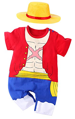 Luffy Outfit Baby Costume, Cute Infant Toddler Onesie Cool Newborn One Piec Cosplay Hooded Romper Pajamas Clothes (Red, 6-9 Months)