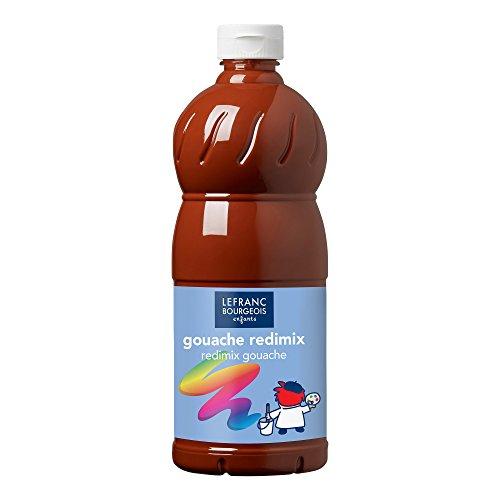 Lefranc Bourgeois - Gouache liquide Redimix pour enfants - Bouteille 1L - Terre de sienne brûlée