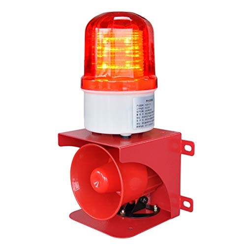 Sound Volume Adjustable Sounds and Light Siren, RISOON 120dB Emergency Strobe Warning Light Waterproof IP 65 for Crane/Gantry Cranes/Bridge Cranes/Port/pier AC110V- 120V