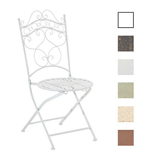 CLP Eisenstuhl Indra im Jugendstil I Antiker handgefertigter Gartenstuhl I erhältlich, Farbe:weiß