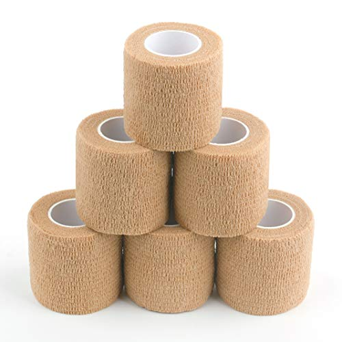 """Cohesive Bandage, Self Adherent Medical Tape, First Aid Gauze, Athletic Elastic Stretch Band, self Adhesive, Flexible, Breathable & idea for Sport Injury & Wound/Finger/Wrist/Ankle (Pets Too) 2""""x15ft"""