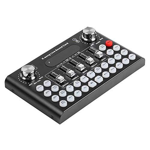 HM2 Professionelles Mikrofon Soundkarte USB-Sprach Audio Headset Unterhaltung Karaoke-System für K-Song-Live Sound-Karte,Schwarz