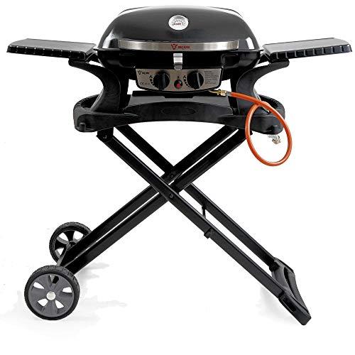 BBQ-Toro Tragbarer Tisch Gasgrill 2 Brenner mit Grilltisch | kompakter Tischgasgrill für Balkon inklusive faltbarem Rollwagen für Grill | Gasgrill Camping und Outdoor (Set aus Gasgrill und Grilltisch)