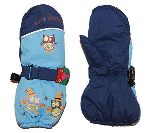 alles-meine.de GmbH Handschuh mit langem Schaft - blau Eulen Eule Thermo gefüttert Thermohandschuh - Gr. 9 Monate bis 18 Monate - Fausthandschuh Handschuhe