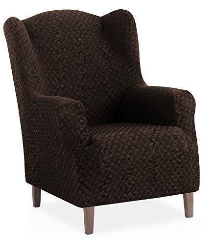 Funda de sillón orejero elástica Olivia - Color Marrón - Tamaño 1 Plaza (de 70 a 110 cm)