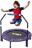lbla trampolino per bambini esercizio fitness trampolino 36 '' con corrimano regolabile e copertura imbottita di sicurezza mini pieghevole elastico tappeto rimbalzante per interno/esterno (blu)