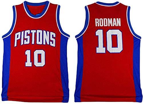 XSJY Jerseys De Baloncesto De Los Hombres - NBA Detroit Pistons # 10 Dennis Rodman Swingman Edition Malla Jersey Unisex Vestima Sin Mangas Top Sportwear,A,M:170~175cm/65~75kg