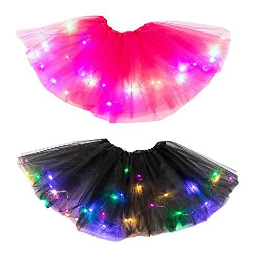 Robe Fille, Robe pour 2-8 Ans Princesse, Bébé Tutu Jupe Fantaisie Costume LED Light Up Pettiskirt Ballet 2PCS, Chic Ete Ceremonie Anniversaire Robe, Pas Cher Enfants Vêtements