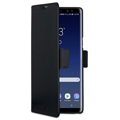 CASEZA Samsung Galaxy Note 9 Funda Negro Tipo Libro Piel PU Case Cover Carcasa Plegable Cartera Oslo 2' Piel Vegana Premium para Galaxy Note 9 Original - Ultrafina con Cierre Magnético