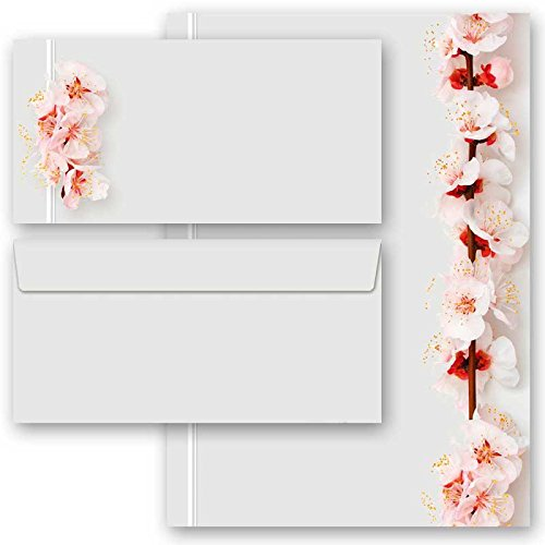 20-tlg. Motivpapier Komplett-Set KIRSCHBLÜTEN 10 Blatt Briefpapier + 10 passende Briefumschläge DIN LANG ohne Fenster