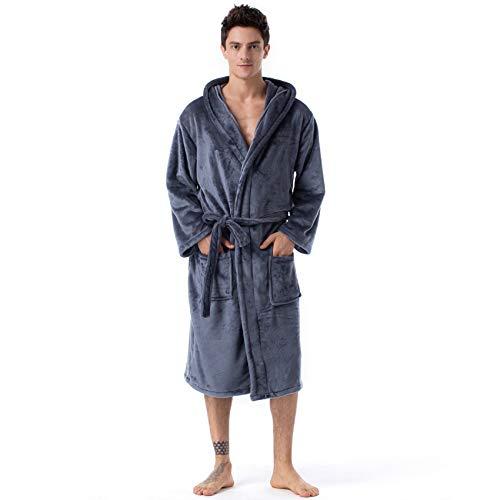 Bademantel für Herren, langärmelig, Winterpyjama, warmer Bademantel für Herren, Nachtwäsche, Zuhause, lässig, D, M