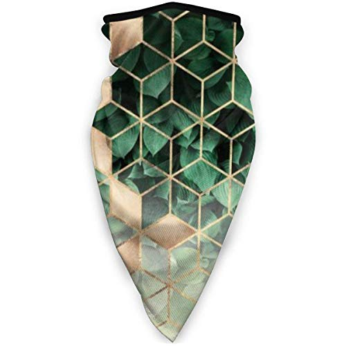 IZOU Leaves And Cubes Neck Gaiter Face Mask,Multifunction for Man Women seasons Magic Scarf Bandana Balaclava