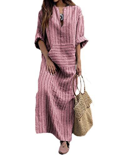 VONDA Maxikleider Damen Langarm Kleid Übergroße Freizeit Maxikleid Streifen Split Kleider A-Rot S