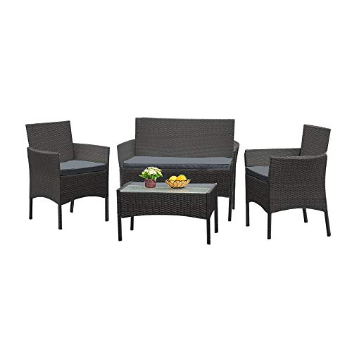 Panana Rattan Garden Furniture 4 Piece Set Table Sofa Chair Patio Outdoor Conservatory Indoor Black with Grey Cushions