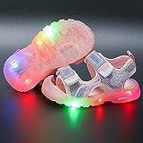 Sandalias de verano con luz LED de piel suave y puntera cerrada, para deportes al aire libre, para playa, zapatillas de agua (tamaño 30 UE, color: rosa)