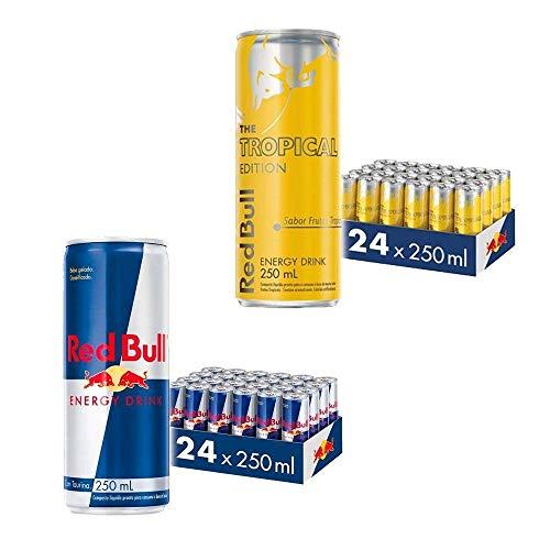 Kit Red Bull Energy Drink e Red Bull Tropical - 250 ml - 48 latas