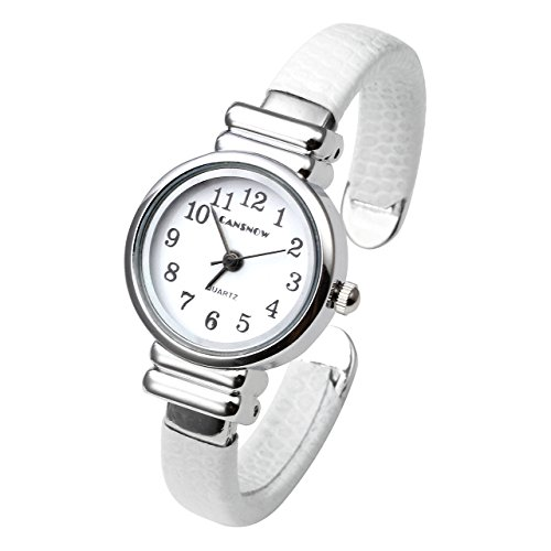 Top Plaza White Casual Chic Simple Arabic Numeral Bangle Cuff Watch for Small Wrist