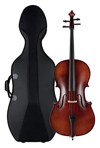Classic Cantabile Brioso Cello 4/4 Set (4/4 Violoncello, Decke aus massivem Fichtenholz, Boden & Zargen aus geflammtem Ahorn, inkl. Trolley-Leichtkoffer und Bogen)