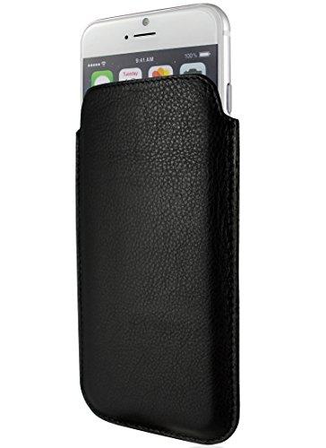 KEIB Echt Leder Tasche für Apple iPhone SE (2020), iPhone 8 / 7 & iPhone 6/6S, Schwarz extra Dünn, Lederhülle, Hülle