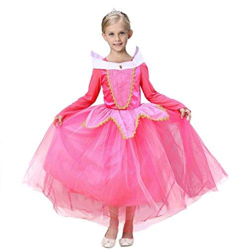Vestito Abito Principessa Costume Ragazza frozen Bambina Principessa Vestito Carnevale Tulle Diadema Cosplay Compleanno Carnevale Abito Ragazze belle Disney Costumi Vestire Beauty Top (Rosa, 5-6 ann)