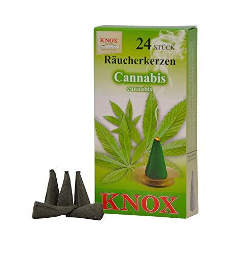Knox 013400 - Räucherkerzen Cannabis, 24 Stück, Entspannung, Duftkegel, Räucherkegel
