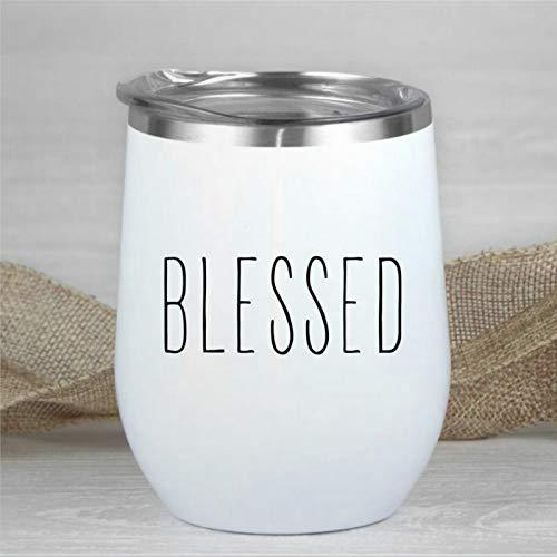 Blessed Weinglas mit Deckel, doppelwandig, vakuumisoliert, ohne Stiel, 340 ml, Rae-Dunn Edelstahl-Reisebecher für Champagner, Cocktails