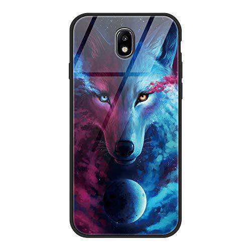 Yoedge Samsung Galaxy J7 2017 Cover, [Ultra Sottile] Antiurto con Modello Disegni Custodia in Vetro Temperato [Morbido TPU Bordo in Silicone] Bumper Case per Samsung Galaxy J7 2017, Lupo