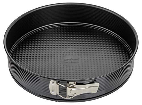 Zenker Springform Ø 30 cm, Backform mit Antihaftbeschichtung, runde Kuchenform mit Flachboden (Farbe: schwarz), Menge: 1 Stück