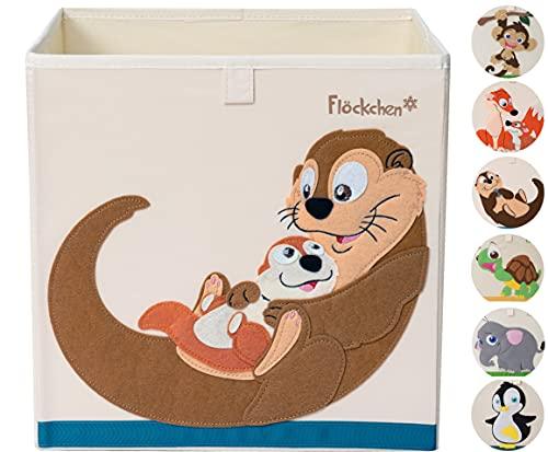 Flöckchen Kinder Aufbewahrungsbox, Spielzeugbox für Kinderzimmer I Spielzeug Box (33x33x33) passt ins Kallax Regal I Kinder Motiv Tiere (Familie Otter)